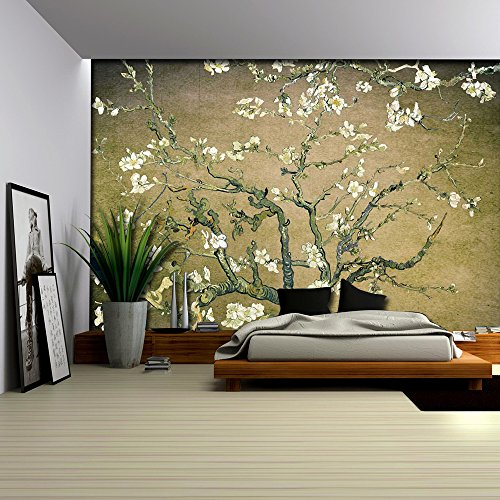 Olive Green Vignette Almond Blossom by Vincent Van Gogh Wall Mural