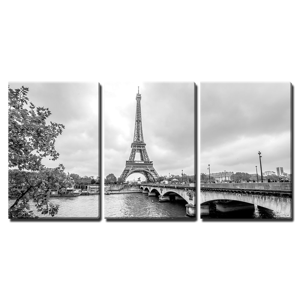 wall26 – 3 Piece Canvas Wall Art – Paris Eiffel Tower from Seine. Cityscape in Black and White – Modern Home Decor Stretched and Framed Ready to Hang – 16 x24 x3 Panels