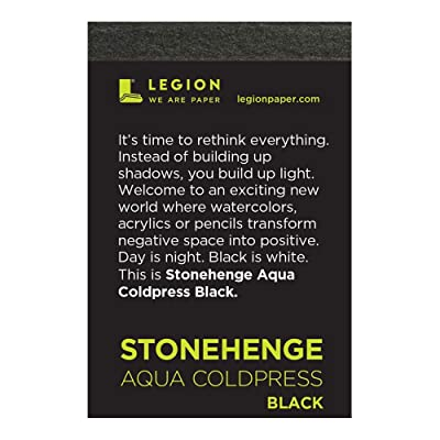 Legion Stonehenge Aqua Mini Artist Pad, 2.5 by 3.5 Inches, Black Coldpress Paper, 10 Sheets (L21-SQC140BK23): Arts, Crafts & Sewing