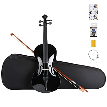 e4097acbfc7 Amazon.com: ARTALL 4/4 Full Size Handcrafted Acoustic Violin Beginner Kit  for Student with Hard Case, Bow & Accessories, glossy Black: Musical  Instruments