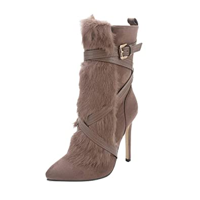 17559bb3137 Boots Women Ladies Ankle Winter Chelsea Suede Fur High Stiletto Heel  Platform Lace Up Zip Gothic