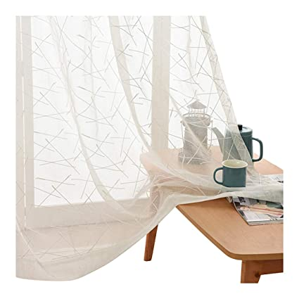0289afbcdbc Aside Bside Simple White Sheer Voile Curtains Irregular Stripes Embroidered  Window Curtain Rod Pocket Transparent Drapes
