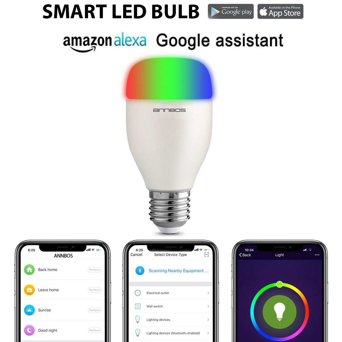 ANNBOS Smart led light bulb Wifi Wireless Dimmable Sleeping Wake Up Home, White and Color Ambiance Adjustable, Multicolor 60W Equivalent Smartphone Controlled Day & Night Light Timing Remote Co