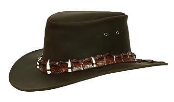 Sombrero de piel en negro y marrón con Auténtica Piel de cocodrilo de  sombrero de banda 0ff4f798a07