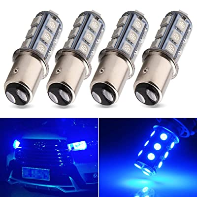 Everbright Blue 1157 Led Bulb, 1016 1034 7528 BAY15D Base 18 SMD 5050 LED Replacement Bulb For RV SUV MPV Car Turn Tail Signal Bulb Brake Light Lamp Backup Lamps Bulbs DC 12V (Pack of 4): Automotive