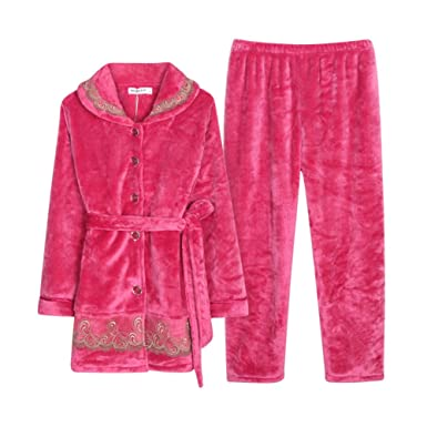 Wangs Ladies Pyjama Set Coral Thicken Nightwear Long Long Sleeve Winter Night-Robe at Amazon Womens Clothing store: