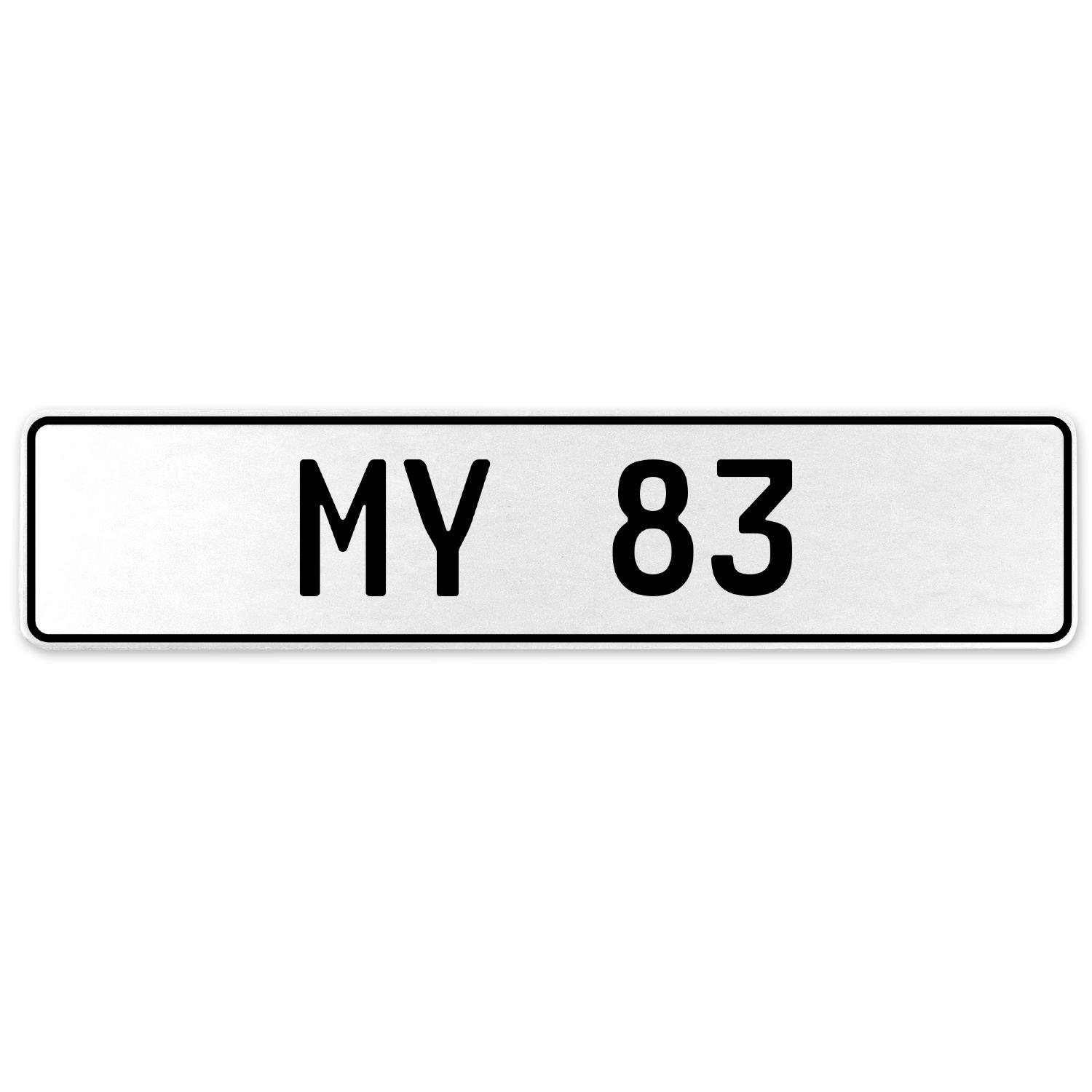 Vintage Parts 555175 My 83 White Stamped Aluminum European License Plate