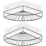 Oriware Adhesive Corner Shower Organiser Caddy Bathroom Shelf Storage Wall Mounted for Toilet Kitchen SUS 304 Stainless Steel No Drilling - 2 Pack