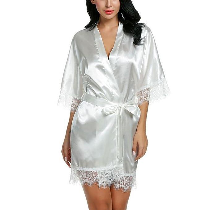 5e0675f190c Pajamas Women Short Satin Bride Robe Lace Silk Kimono Bathrobe Summer  Bridesmaid Nightwear at Amazon Women s Clothing store