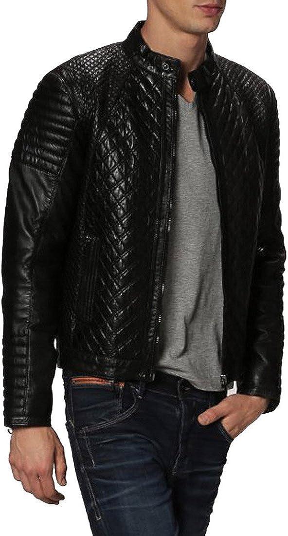 Kingdom Leather New Mens Genuine Lambskin Leather Slim Fit Biker Motorcycle Jacket for Men X362