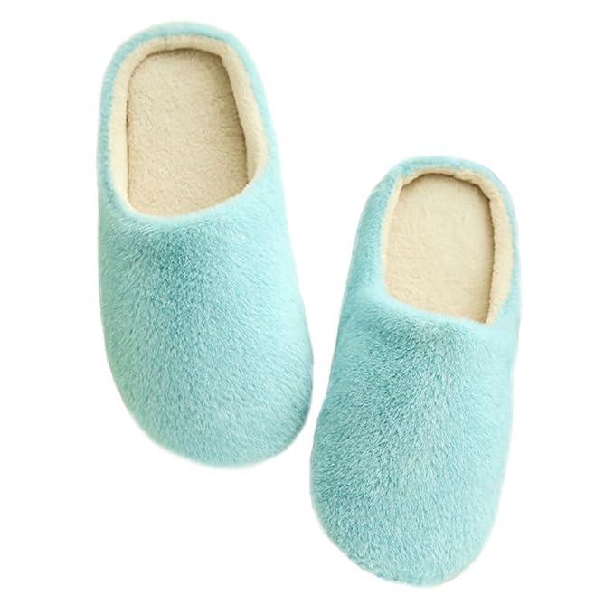 LUOEM Zapatillas de Estar por Casa Mujer Hombre Invierno Pantuflas Zapatillas Peluche Algodón Suave Azul: Amazon.es: Ropa y accesorios