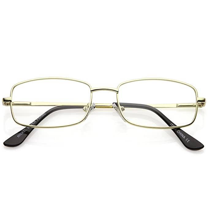 a8c6a3c62b sunglassLA - Classic Rectangle Eye Glasses Thin Metal Clear Lens 50mm  (Gold Clear)