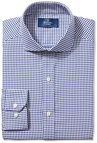 Big And Tall Formal Wear (Buttoned Down Men's Fitted Cutaway-Collar Non-Iron Dress Shirt, Navy Small Textured Check, 20