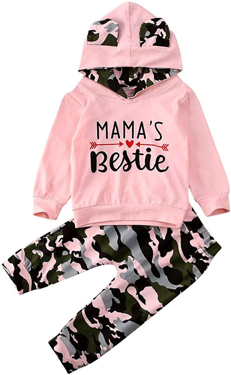 Toddler Baby Girl Long Sleeve Clothes Camo Hoodie Sweatshirts+Camouflage Long Pants Infant Outfits Set Girls