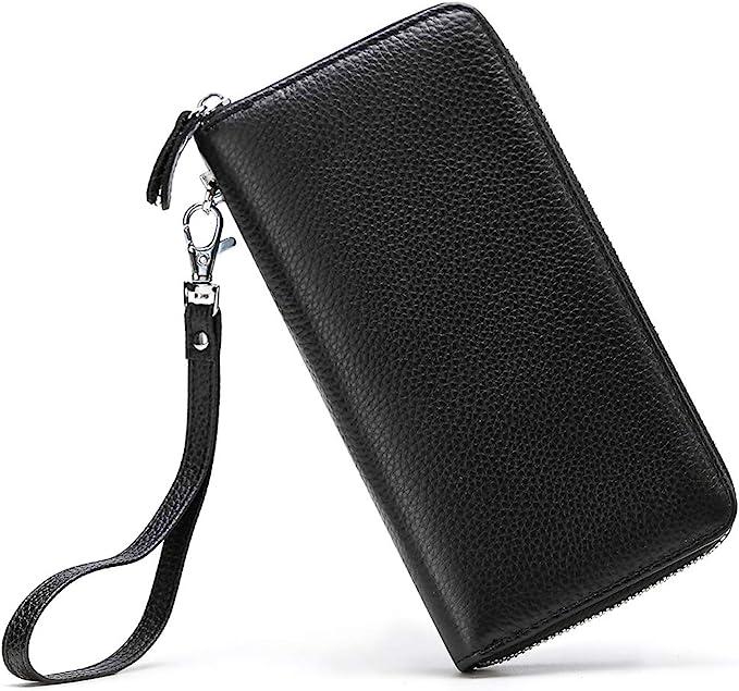 Womens Genuine Leather Wallet Money Card Holder Clutch Purse RFID Blocking QR