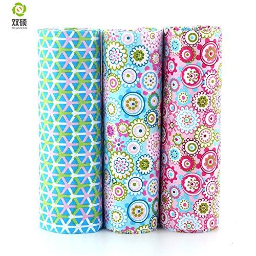 Reixus (TM) print floral cotton Tessuti patchwork clothes fat quarter bundle fabric baby clothes DIY craft items 40X50CM 3PCS LOT