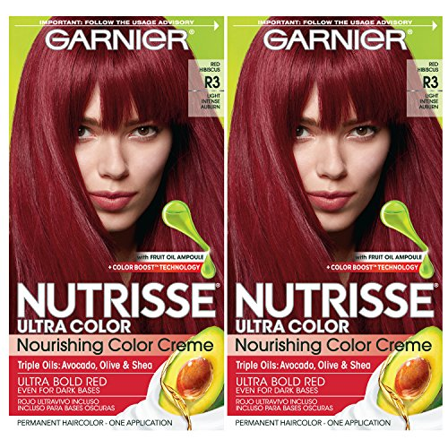 Garnier Nutrisse Ultra Color Nourishing Permanent Hair Color Cream, R3 Light Intense Auburn (2 Count) Red Hair Dye
