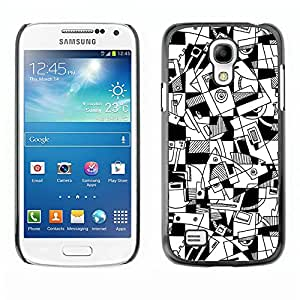 rígido protector delgado Shell Prima Delgada Casa Carcasa Funda Case Bandera Cover Armor para Samsung Galaxy S4 Mini i9190 MINI VERSION! /Art Lines Hand Drawn White Black/ STRONG