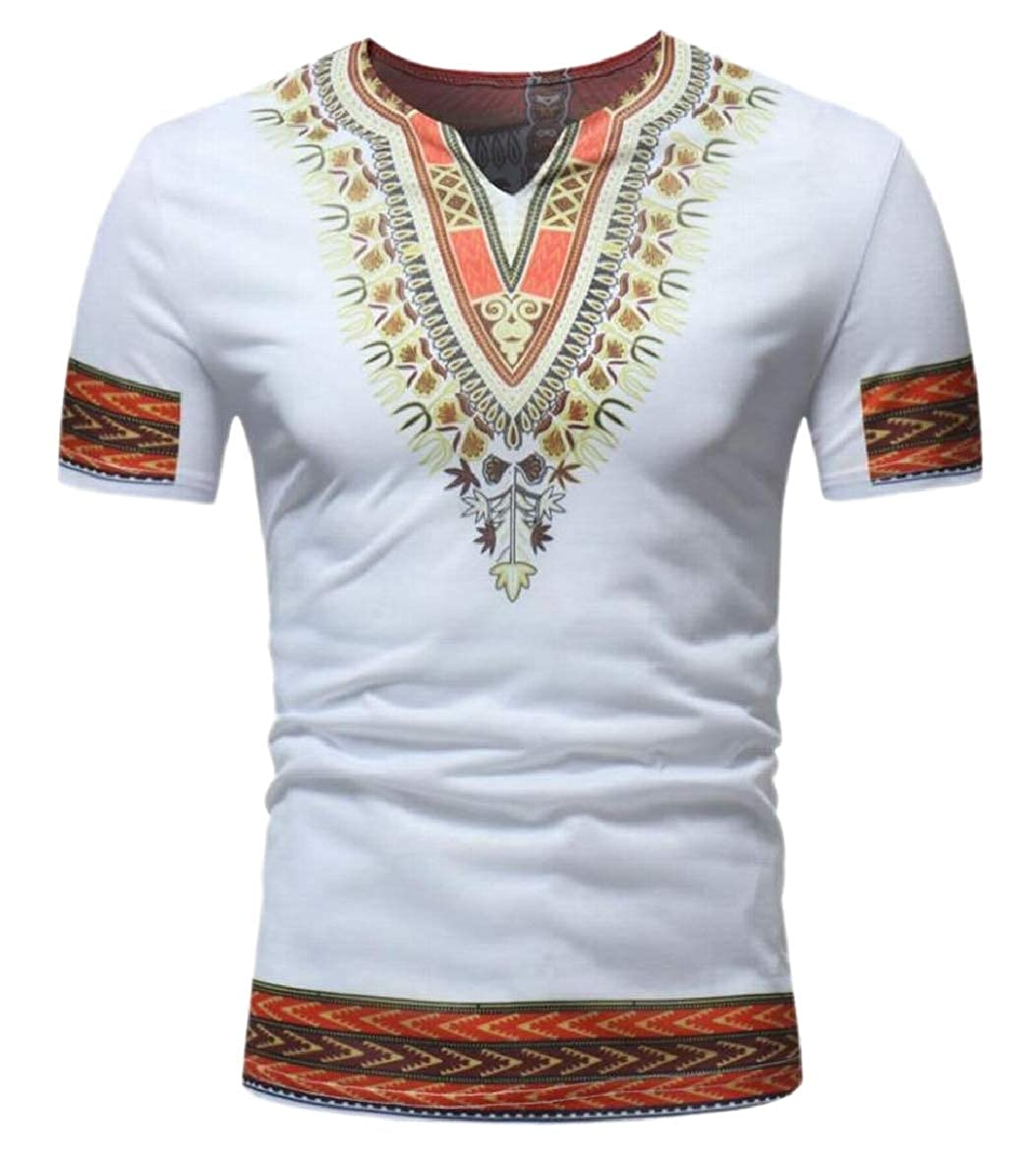 shinianlaile Mens African Tribal Dashiki Blouse V Neck Short Sleeve T Shirt