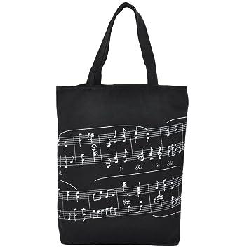 Punk de grosor algodón bolso mujeres bolsa de la compra en Muisc sol tema patrones de notas musicales 39 x 31 x 7cm negro: Amazon.es: Juguetes y juegos