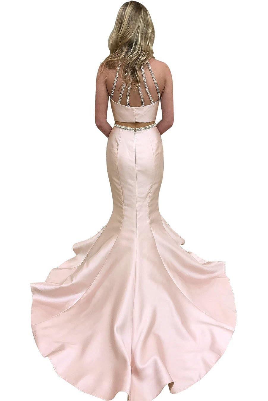 Women High Neck Beaded Sleeveless Two Piece Long Mermaid Satin Prom Dresses Formal