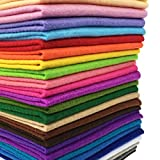 (US) flic-flac 28pcs 12 x 8 inches (30cmx20cm) 1.4mm Thick Soft Felt Fabric Sheet Assorted Color Felt Pack DIY Craft Sewing Squares Nonwoven Patchwork