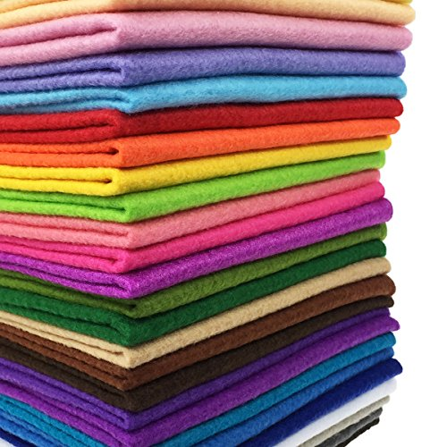 flic-flac 28pcs 12 x 8 inches (30cmx20cm) 1.4mm Thick Soft Felt Fabric Sheet Assorted Color Felt Pack DIY Craft Sewing Squares Nonwoven ()
