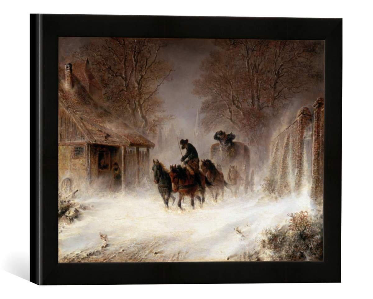 Gerahmtes Bild von Hermann Kauffmann Kutsche im Schneesturm, Kunstdruck im hochwertigen handgefertigten Bilder-Rahmen, 40x30 cm, Schwarz matt
