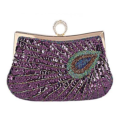 Clutches Bolsa de Pavo Real, Yimidear Mujeres Lentejuelas Rebordeado Bolsa de Hombro Bolso de Noche Boda Fiesta Sarao Bolso de Mano púrpura