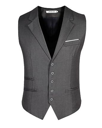 Gilet Homme Col V Gilet De Costume sans Manche Veste Business Mariage  Elégant Gilet  Amazon.fr  Vêtements et accessoires 748a899c8cb