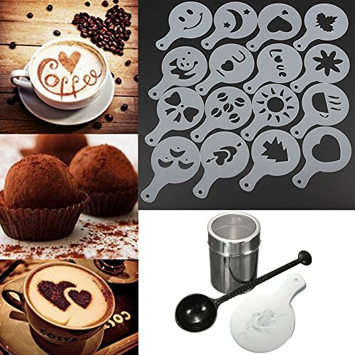 16pcs Chocolate Shaker Coffee Stencils Spoon Latte Art Coffee Decorating Molds - 1