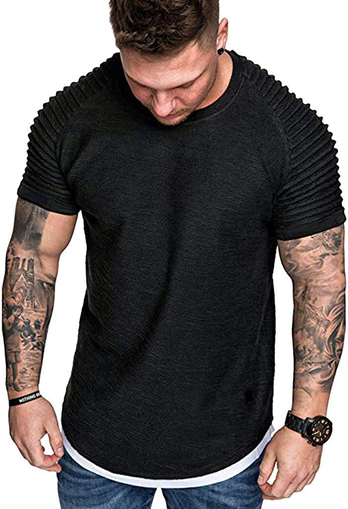 Misaky Men Fashion Summer Pleats Slim Fit Raglan Short Sleeve Pattern Top Blouse