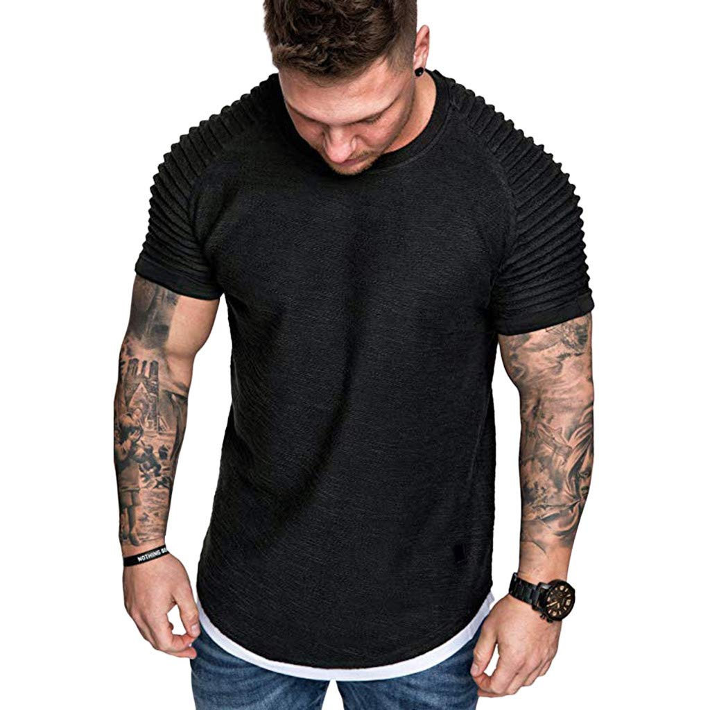 YOMXL Men's Pleated Raglan Short Sleeve T-Shirt Classic Crew Neck Slim Fit Muscle Tees Top T Shirt Black by YOMXL