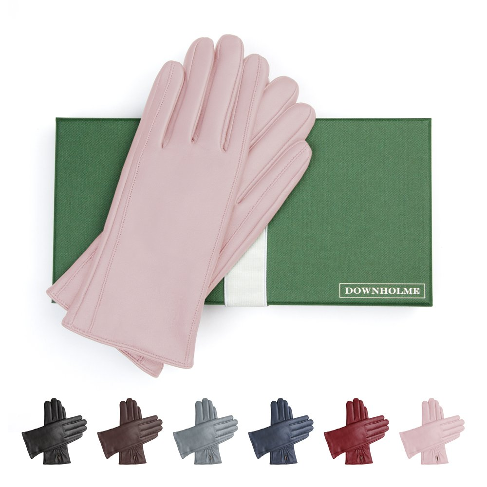 Downholme Classic Leather Cashmere Lined Gloves for Women (Pink, L)