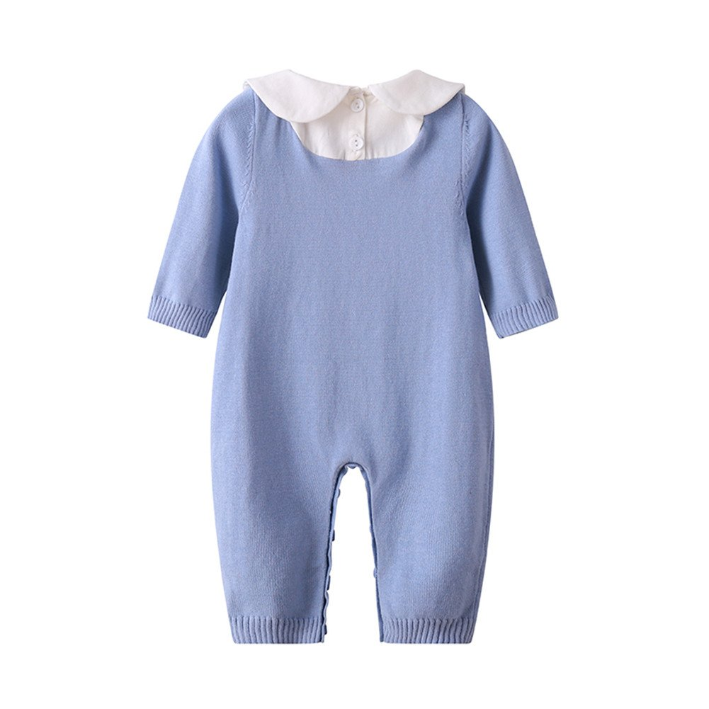 f82d47121 Amazon.com  Baby Boy Girl Long Sleeve Peter Pan Collar Knit Romper ...
