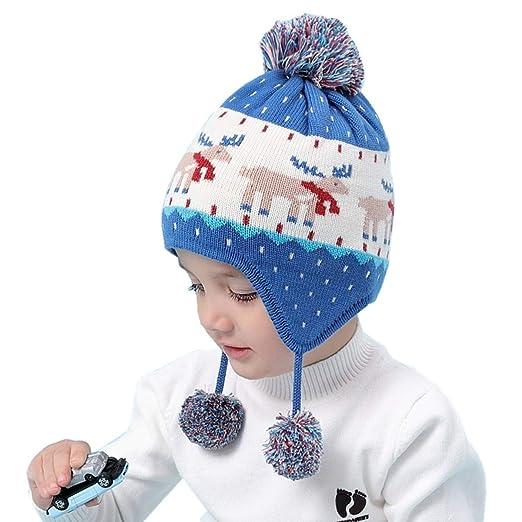2d7c46d5d Connectyle Toddler Boys Girls Cotton Knit Kids Hat with Earflap Winter Hats