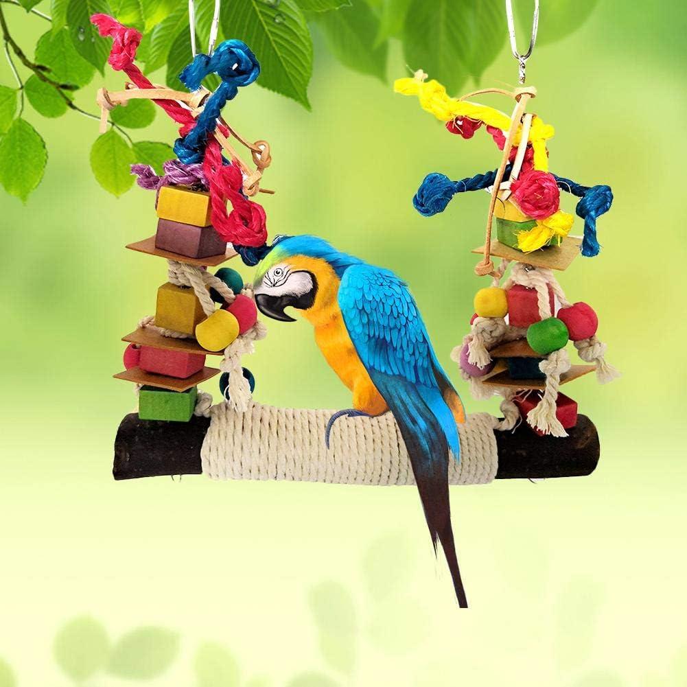 voloki Pet Parrot Chew Toy, Juguetes De Mordedura De Cuerda De Algodón Colorido Bloque De Construcción Cuerda De Algodón Columpio Grande para Mascota Pájaro Fine