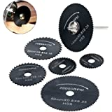 """Andoer 6pcs HSS Circular Cutting Blades High Speed Steel Circular Rotary Blade Wheel Discs Tools Kit Set with 1/8"""" Shank for Cutting Wood Timber and"""