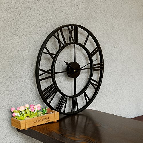 Large Metal Decorative Round Wall Clock Linpote 20 Inch 3D Hollow Out Wrought Iron Non-Ticking Silent Wall Clock with Roman Numeral for Office Living Room Bedroom Kitchen (Black)