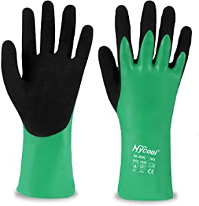 DS Safety N592 Nitrile Coating Work Gloves Chemical Resistant Nylon Latex Nitrile Gloves 18 Gauge Hycool Grip Water-Proof Work Gloves for Men's Work Gloves 1 Pair (M)