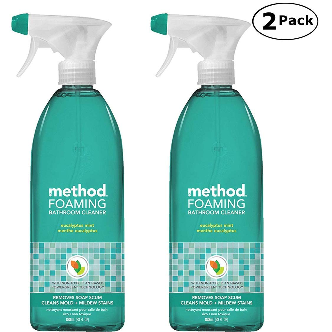 Method Naturally Derived Foaming Bathroom Cleaner Spray, Eucalyptus Mint, 28 FL Oz Twin Pack (28 x 2, Total 56 Oz) by Method