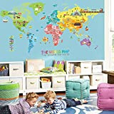 IceyDecaL Super-Large World Map Wall Decal-Kids Educational Animal/National Flag /Vehicle/Famous Building, Peel & Stick Cartoon Stickers Mural Home/ Nursery Decor Art Stencil Decoration(Xlarge)
