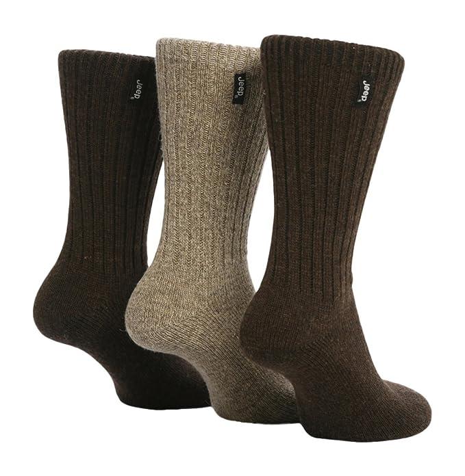 Jeep - 3 pares calcetines lana hombre senderismo caminar en negro y marrón (Marrón)