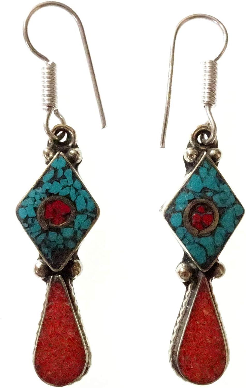 Pendientes para mujer Chica Hecho a mano Plata tibetana Chapado Boho Étnicas piedras preciosas antiguas Verde Turquesa Rojo Coral Gota Cuelga Boho Bohemio Pendientes tibetanos joyería de moda artesano