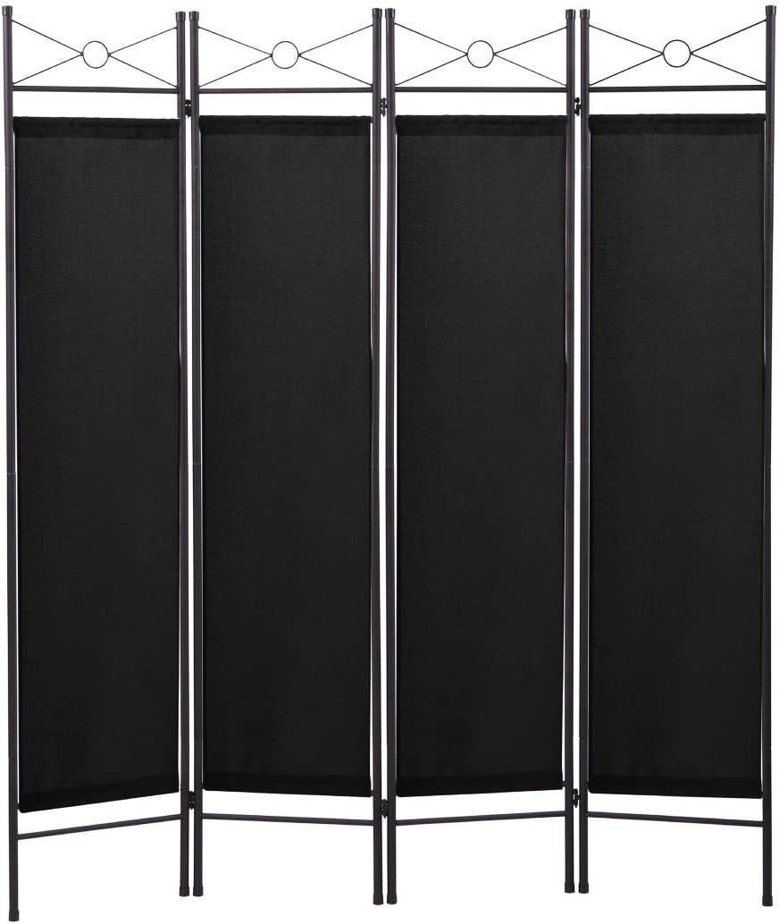 JAXPETY 4 Panel Room Divider Folding Privacy Screens Home Office Fabric Metal Frame, Black -