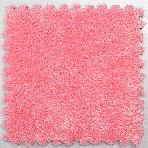 30x30cm Multicolor Puzzled EVA Foam Mat Soft Foam Rug Warm Shaggy Carpet Children Play Area Mat DIY Floor Jigsaw Interlocking Tiles for Kids Baby Playmats(Pink) (Jigsaw Rug)