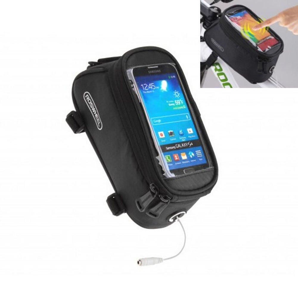 ロードマウンテンバイクバッグパニエクラシックROSWHEELミニサイクリング自転車フロントチューブバッグメンズレディースfor iPhone 4 5 6 7 Plus 8 8plus X Samsung Huawei、S M L B074NZ723Z M for less 4.8