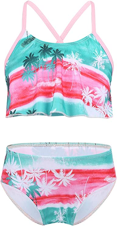 Kids Girls Swimwear Tankini Set Two Piece Swimsuit Bathing Clothes Beachwear