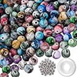 Quefe 500pcs 8mm Multi Color Acrylic Round Loose Beads in Ink Patterns with 50 Pcs Spacer Beads and 1 Roll Crystal String for Bracelets Jewelry Making (8mm)