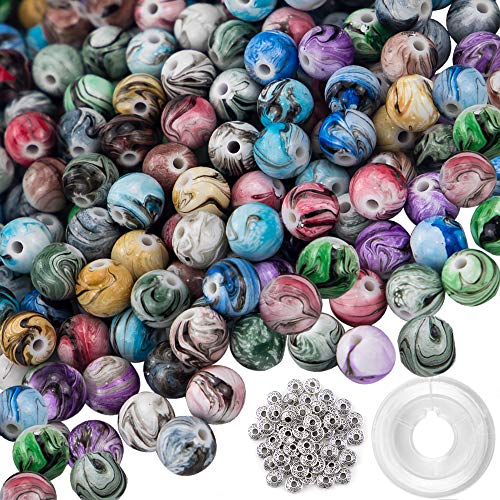 (Quefe 500pcs 8mm Multi Color Acrylic Round Loose Beads in Ink Patterns with 50 Pcs Spacer Beads and 1 Roll Crystal String for Bracelets Jewelry Making)